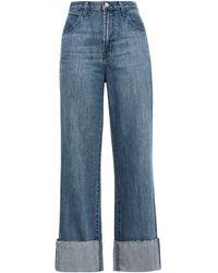 J Brand Hoch Sitzende Jeans Mit Weitem Bein In Ausgewaschener Optik - Blau