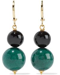 Iris & Ink Hydrangeas Gold-plated, Onyx And Jade Earrings Petrol - Multicolor