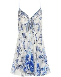 Camilla Knotted Crystal-embellished Printed Silk Crepe De Chine Mini Slip Dress Ivory - White