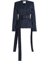 Solace London - Double-breasted Pinstriped Wool And Cotton-blend Twill Jacket - Lyst