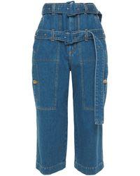 Lanvin Cropped Belted High-rise Straight-leg Jeans Light Denim - Blue