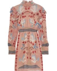 Anna Sui Ruffle-trimmed Printed Gauze Turtleneck Mini Dress Antique Rose