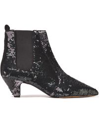 Tabitha Simmons Effie Sequined Leather Ankle Boots - Black