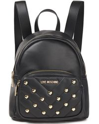 Love Moschino Studded Faux-leather Backpack - Black