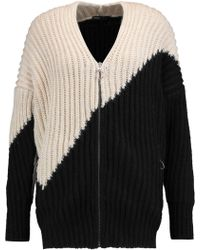 Maje - Two-tone Ribbed-knit Cardigan - Lyst