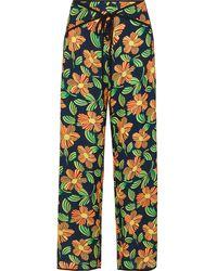 Solid & Striped Floral-print Crepe Wide-leg Pants - Blue