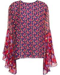 Anna Sui - Ruffled Georgette-paneled Floral-print Silk-crepe Blouse Indigo - Lyst