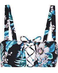 Diane von Furstenberg Lace-up Floral-print Bikini Top Black