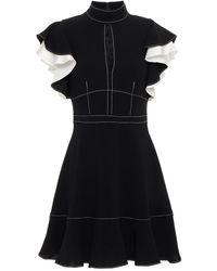 Cinq À Sept Ruffled Two-tone Cady Mini Dress - Black