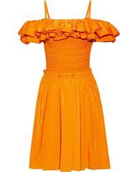 Nicholas Cold-shoulder Ruffled Shirred Cotton-blend Taffeta Dress - Orange