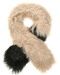 Karl Donoghue Two-tone Shearling Scarf Beige - Natural
