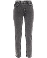 Anine Bing Frida Cropped Acid-wash High-rise Slim-leg Jeans Dark Gray