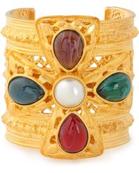 Ben-Amun - Woman Gold-plated, Faux Pearl And Stone Cuff Gold - Lyst