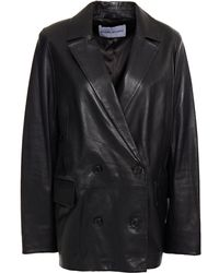 Stand Studio Double-breasted Leather Blazer - Black