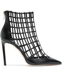 Jimmy Choo - Sheldon 100 Cutout Leather Ankle Boots Black - Lyst