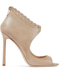f3a77bb12bd1 Jimmy Choo - Woman Blythe 110 Scalloped Metallic Suede Sandals Sand - Lyst