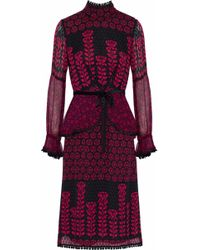 Anna Sui - Woman Embroidered Lace-trimmed Printed Fil Coupé Silk Dress Black Size 4 - Lyst