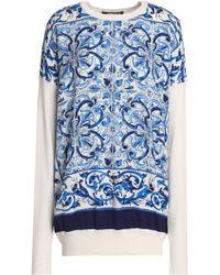 Dolce & Gabbana - Printed Crepe De Chine-paneled Silk Sweater - Lyst