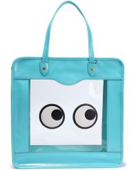 Anya Hindmarch Rainy Day Appliquéd Pvc And Crinkled Patent-leather Tote Turquoise - Blue