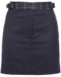 Rag & Bone Checked Wool-blend Mini Skirt Midnight Blue