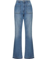 Anine Bing - Faded High-rise Flared Jeans Mid Denim - Lyst