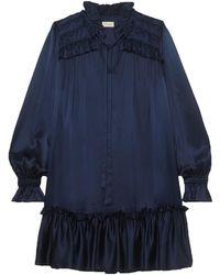Temperley London Birdie Tie-neck Ruffled Satin Mini Dress - Blue