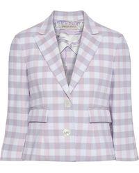 Emilio Pucci Cropped Gingham Twill Blazer - Purple