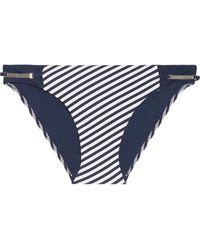 Heidi Klum Sun Dappled Decadence Low-rise Embellished Striped Bikini Briefs - Blue