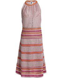 M Missoni - Metallic Pointelle-knit Dress Antique Rose - Lyst
