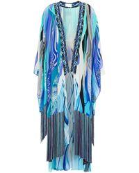 Camilla Kimono aus crêpe de chine aus seide mit print und fransen - Blau