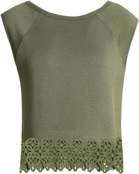 Cheap 2018 Visa Payment For Sale Bailey 44 Woman Guipure Lace-trimmed Stretch-modal Jersey Top Leaf Green Size L Bailey 44 shtThiMJ