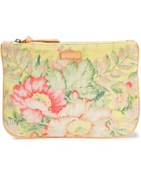 Zimmermann Leather-trimmed Floral-print Cotton-canvas Pouch Chartreuse - Multicolour