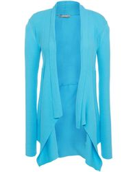 Cotton by Autumn Cashmere Draped Ribbed Cotton Cardigan - Blue