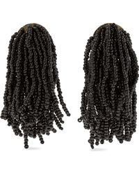 Kenneth Jay Lane - Woman Silver-tone Beaded Tassel Earrings Black - Lyst