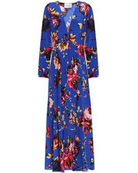 We Are Leone Belted Silk Crepe De Chine Robe - Blue