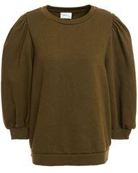 Gestuz Gathered Organic Cotton-fleece Sweatshirt - Green