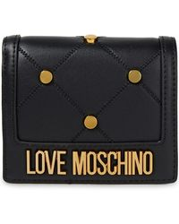Love Moschino Studded Quilted Faux Leather Wallet Black
