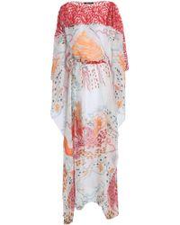 Roberto Cavalli - Woman Embroidered Tulle And Printed Silk-chiffon Kaftan Papaya - Lyst