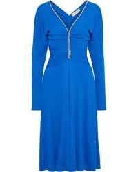 Emilio Pucci Ruched Swarovski Crystal-embellished Jersey Dress Royal Blue