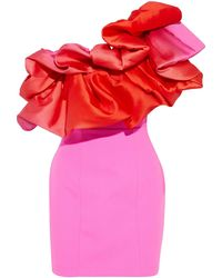 Solace London Finley One-shoulder Ruffled Faille-paneled Crepe Mini Dress - Pink