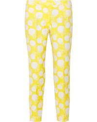 MSGM Floral-embroidered Cotton-blend Piqué Pants - White