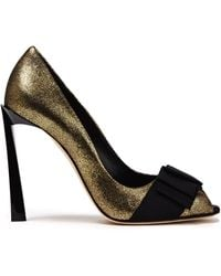 Lanvin Bow-embellished Metallic Cracked-leather Court Shoes Gold