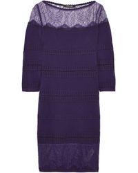 Roberto Cavalli - Chantilly Lace-paneled Stretch-knit Mini Dress - Lyst