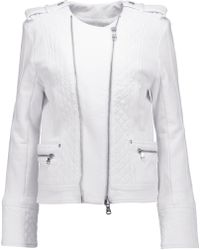 Balmain - Quilted Cotton-jersey Biker Jacket - Lyst