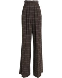Stella Jean - Checked Wool-blend Wide-leg Pants - Lyst
