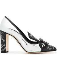 Dolce & Gabbana - Embellished Printed And Mirrored-leather Pumps Silver - Lyst