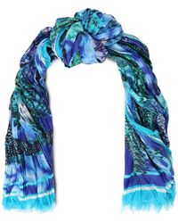 Roberto Cavalli - Printed Cotton And Silk-blend Scarf - Lyst