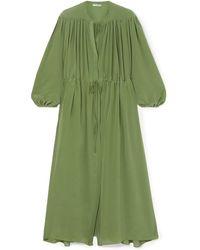 Three Graces London Julienne Gathered Silk Crepe De Chine Maxi Dress Sage Green