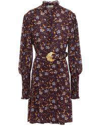 Nicholas Agadir Belted Ruffled Floral-print Crepe Mini Dress - Multicolour