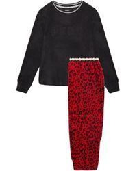 DKNY Metallic-trimmed Printed Fleece Pyjama Set Black